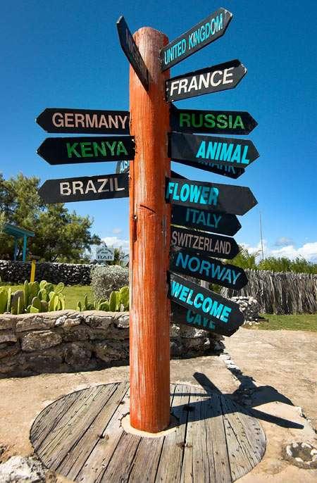 Drogowskaz na North Point (Barbados) - Niemcy, Kenia, Brazylia, Wielka Brytania, Francja, Norwegia, Szwajcaria... A którędy na Grunwald (5×7)