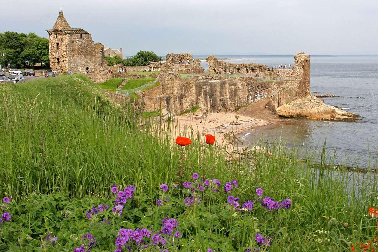 Ruiny zamku St. Andrews (Szkocja) - Ruiny trzynastowiecznego zamku Świętego Andrzeja (St. Andrews) położone są na wybrzeżu morza północnego, w pobliżu miasta St Andrews. Nazwa zamku i miasta pochodzi od Świętego Andrzeja - pa (16×4)