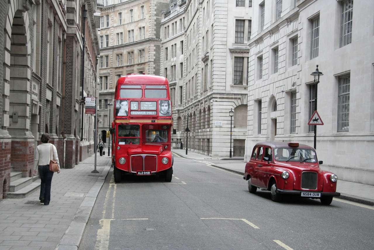 Autobus i taksówka w Londynie (Anglia)