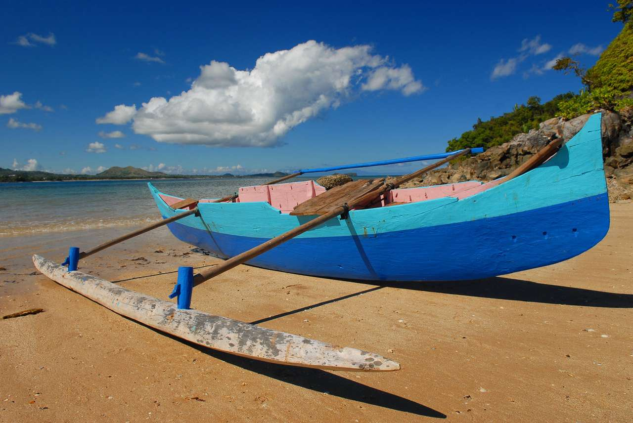 Piroga na plaży (Madagaskar) - Piroga to niewielka, płaskodenna łódź. Jako napęd służy zwykle pagaj (wiosło o jednym piórze). Konstrukcja łodzi ułatwia pływanie po płytkich wodach i wyciąganie na brzeg. Na Madagaskarz (7×9)