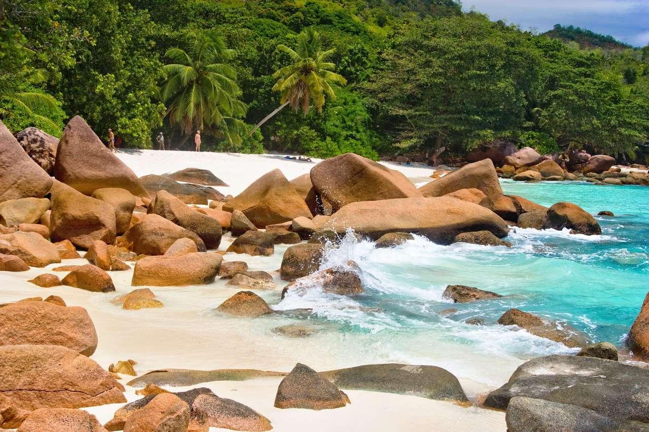 Plaża na wyspie Praslin (Seszele) - Plaża w pobliżu Anse Lanzio, na drugiej co do wielkości wyspie Republiki Seszeli - Praslin. Seszele leżą na Oceanie Indyjskim, 1600 kilometrów od wybrzeży Afryki. Obejmują 155 wysp, z czego 33 (15×10)
