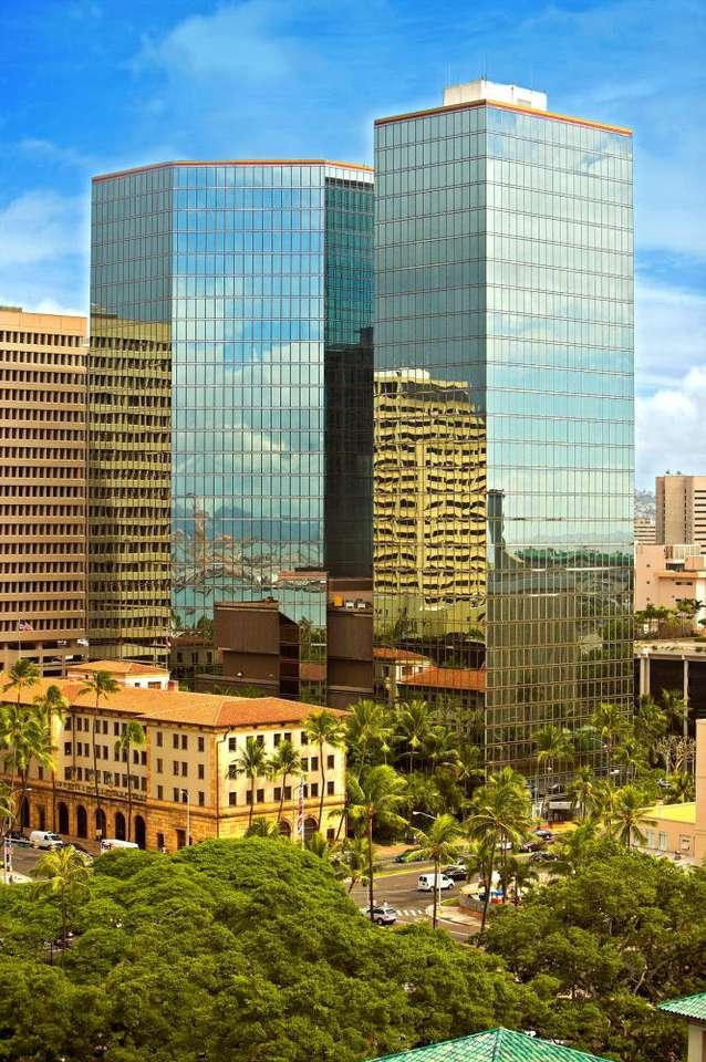 Centrum Honolulu (USA) - Budynki w centrum największego miasta Hawajów - Honolulu. Honolulu położone jest na wyspie Oahu. Hawaje, będące od 1959 roku pięćdziesiątym stanem USA, znajdują się cztery tysiące kilometr (7×10)