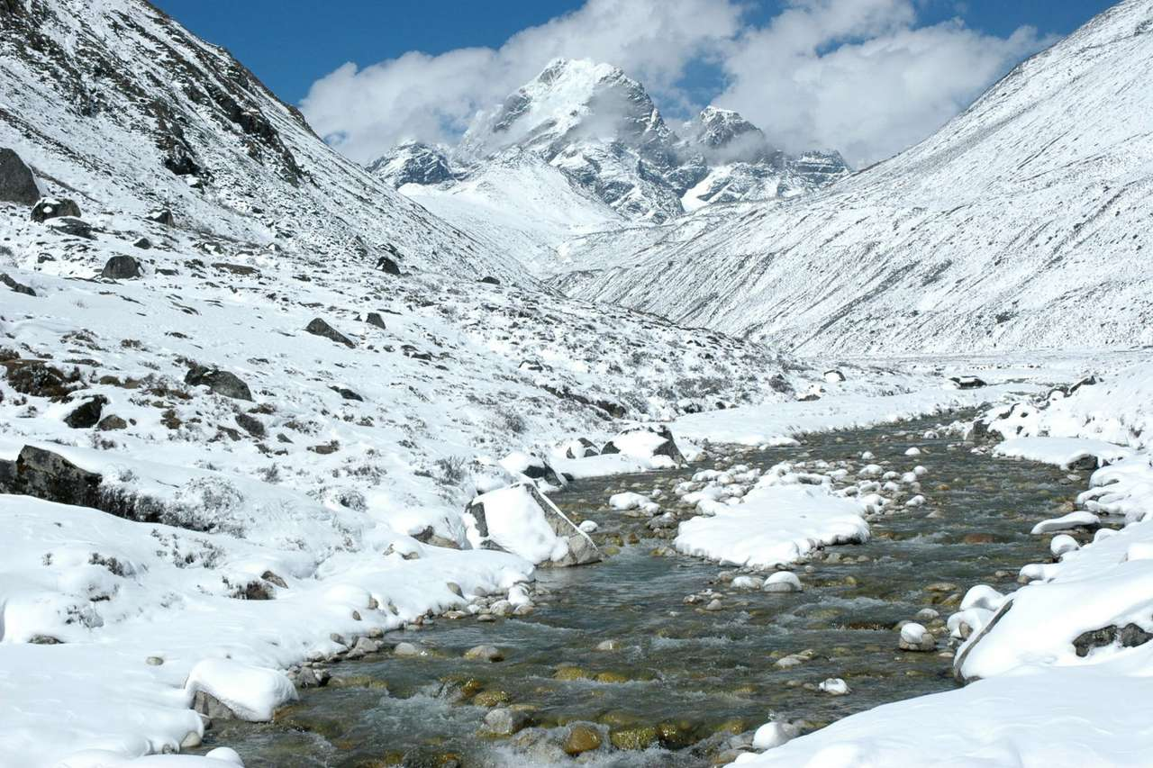 Górska rzeka w Himalajach - Górska rzeka w pobliżu rejonu Mount Everestu w Himalajach Wysokich. Leżący w południowej Azji łańcuch Himalajów ma 2500 kilometrów długości i 250 km szerokości. Dziesięć szczytów w Hima (12×8)