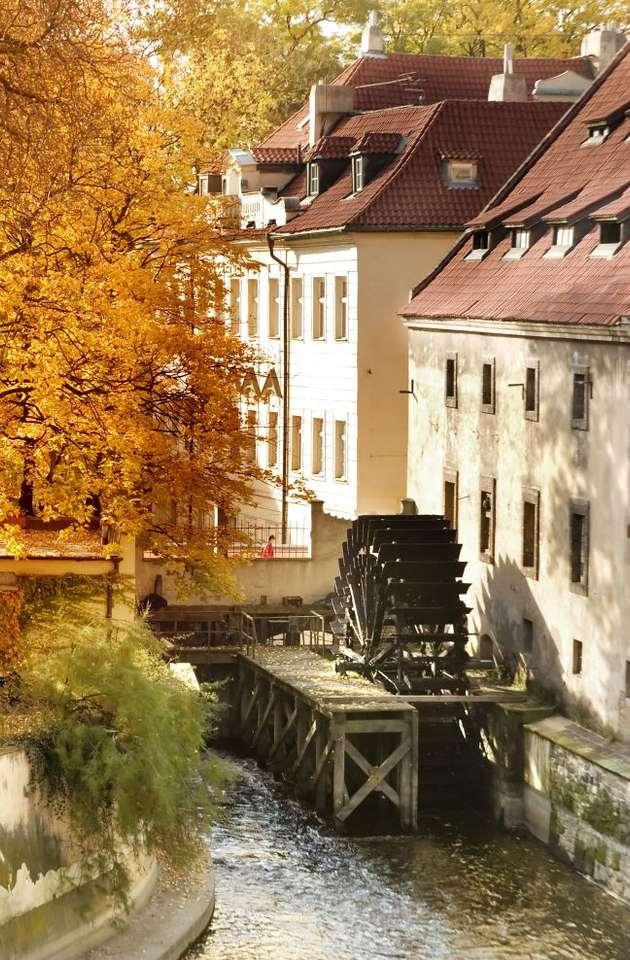 Stary młyn w Pradze (Czechy) - Drewniane koło starego młyna na praskiej Kampie, w pobliżu Mostu Karola. Kampa to półwysep w centrum stolicy Czech, należący do dzielnicy Malá Strana (9×13)