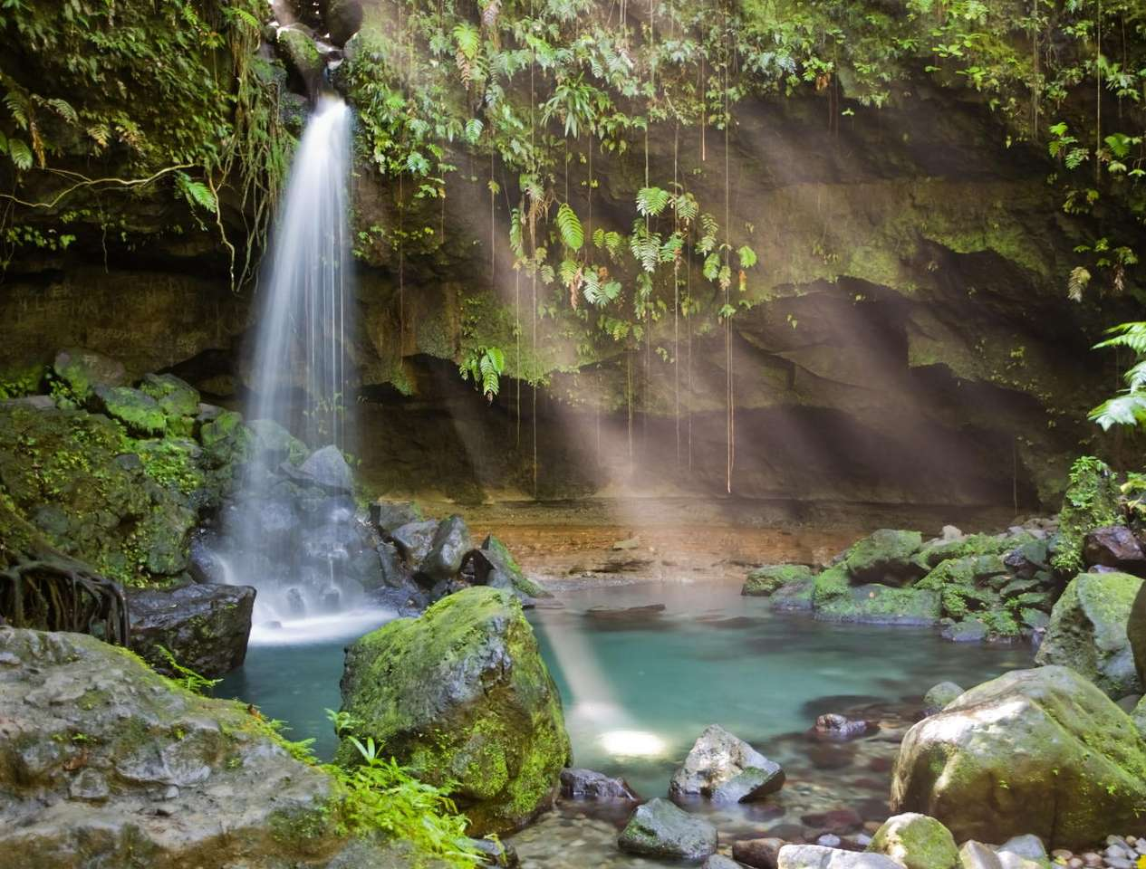 Mały wodospad - Mały wodospad otoczony bujną roślinnością, gdzieś na tropikalnej wyspie na Antylach (8×6)