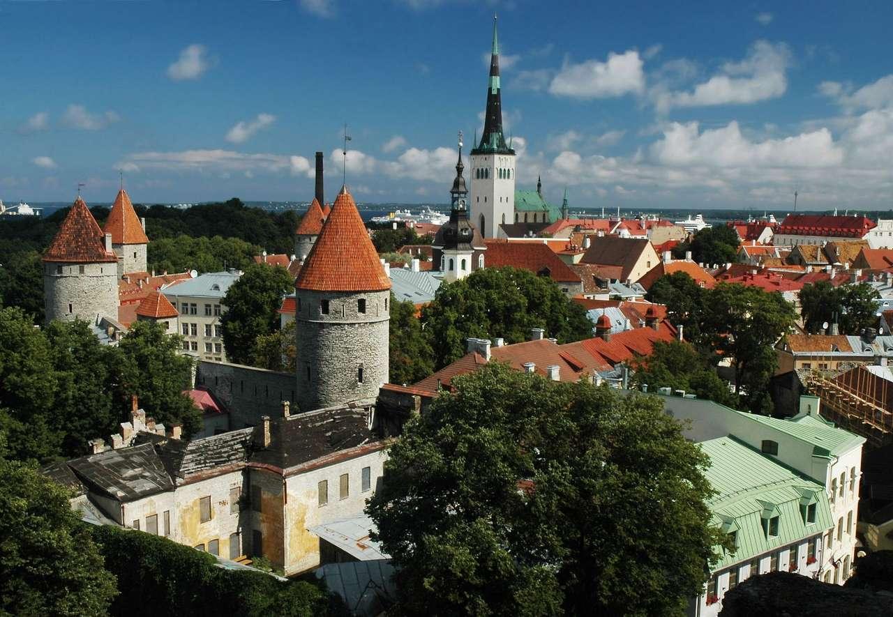 Tallinn (Estonia) - Widok na stare miasto w Tallinnie. Tallinn jest stolicą i jednocześnie największym miastem Estonii. Położony jest na północy kraju, nad Morzem Bałtyckim, na południowym brzegu Zatoki Fińskie (10×6)