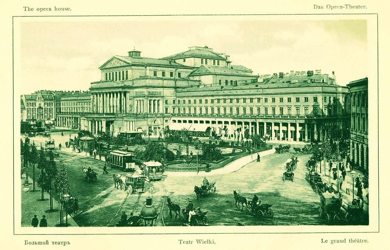 """Teatr Wielki przed 1908 r - """"Znany każdemu z warszawiaków od dzieciństwa, a przybyszowi do stolicy okazałością swą przede wszystkim rzucający się w oczy – gmach Teatru Wielkiego w Warszawie rozsiadł się, a raczej (12×8)"""