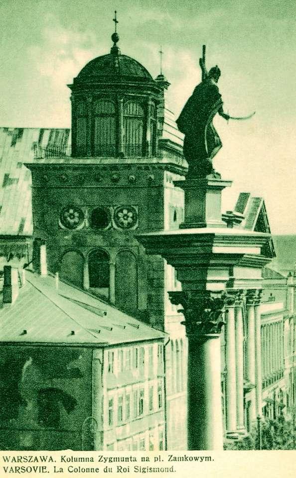 """Kolumna Zygmunta - Kolumna Zygmunta, dwudziestolecie międzywojenne     """"... jest u nas kolumna w Warszawie  Na której usiadają podróżne żurawie.""""  <i>Juliusz Słowacki, """"Uspokojenie""""</i> (7×12)"""