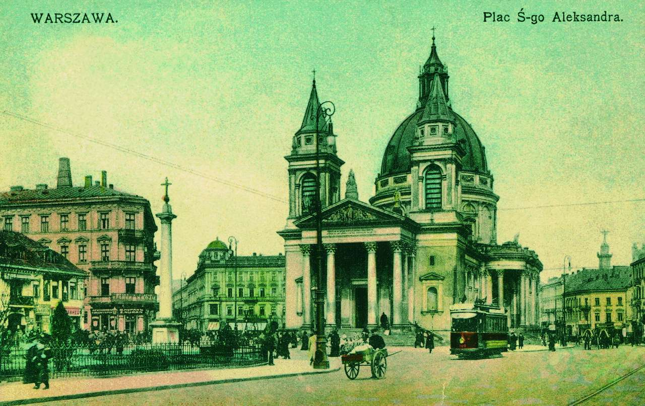 """Plac Świętego Aleksandra - Plac św. Aleksandra (obecnie plac Trzech Krzyży), przed 1915 rokiem.    """"Na rogu Brackiej i placu Trzech Krzyży często stoi gromada zasłuchanych osób. Kucharki z koszami surowizn, damy w fut (10×6)"""