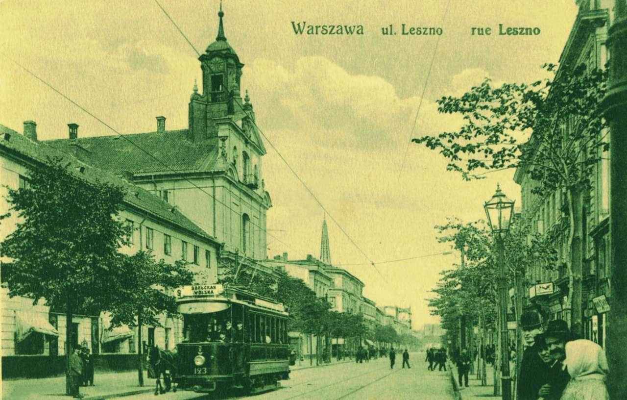 Ulica Leszno - Ulica Leszno, przed 1915 rokiem. Pocztówka ze zbiorów Archiwum Państwowego m.st. Warszawy (12×7)