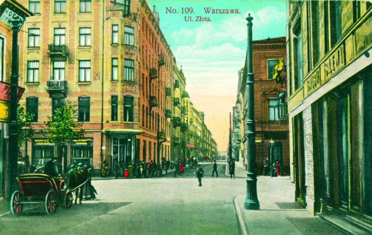 Ulica Złota - Ulica Złota, przed 1915 rokiem. Pocztówka ze zbiorów Archiwum Państwowego m.st. Warszawy (16×10)