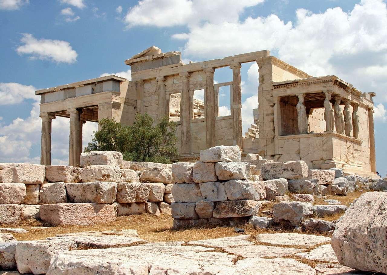 Erechtejon (Grecja) - Grecka świątynia w porządku jońskim na Akropolu, poświęcona Posejdonowi i Atenie. Świątynię w obecnym kształcie odbudowano pomiędzy 421 i 407 rokiem p.n.e., po jej zniszczeniu podczas wojen (13×9)