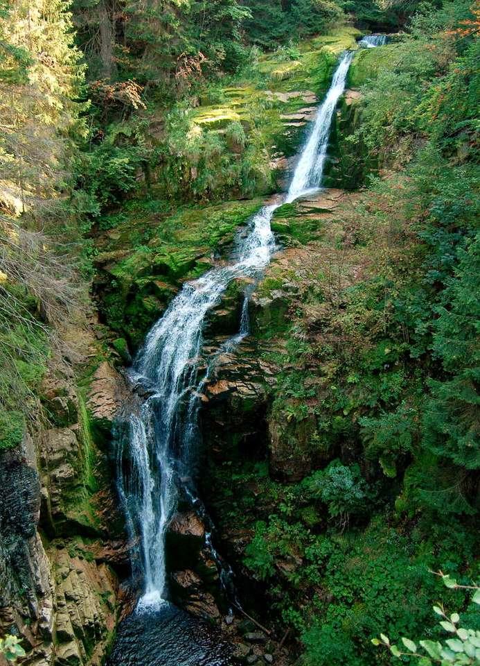 Wodospad Kamieńczyka - Kamieńczyk to najwyższy wodospad w polskich Sudetach. Woda potoku Kamieńczyk spada trzema kaskadami z wysokości 27 metrów. Za środkową kaskadą znajduje się Złota Jama - wykuta w skale grota (7×9)