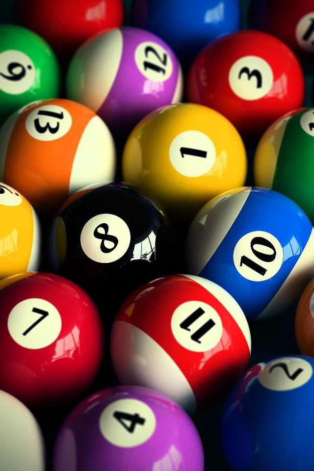 Bile - Bile do gry w bilarda amerykańskiego, używane do najpopularniejszej gry w ósemkę (eight-ball). Choć dzisiaj bile wykonuje się najczęściej z tworzyw sztucznych, to od XVII do XX wieku popularny (8×12)