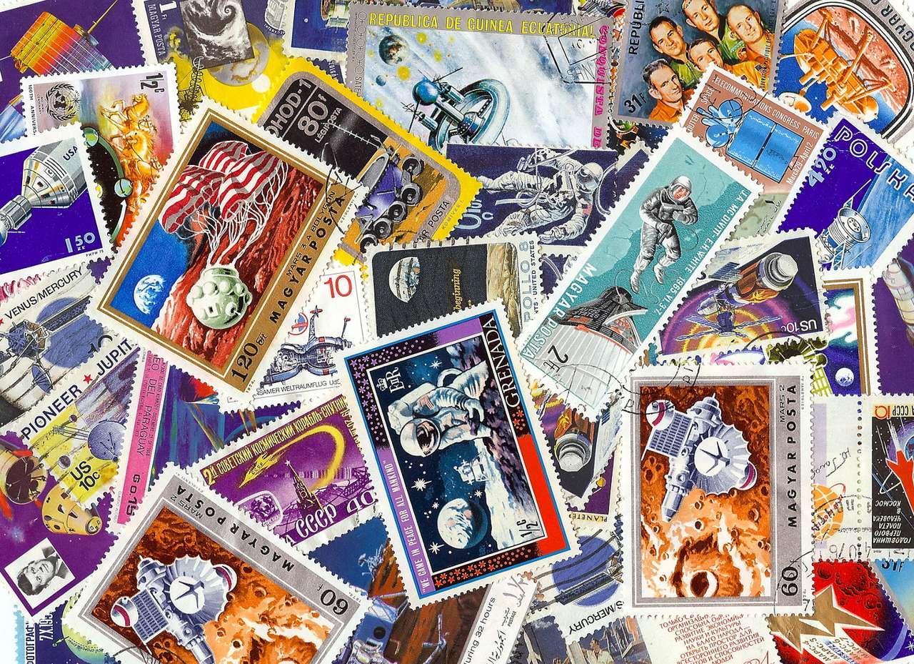 Podbój kosmosu na znaczkach pocztowych - Podbój kosmosu stał się tematem znaczków pocztowych już od samego początku, tj. od wystrzelenia przez ZSRR Sputnika I w 1957 roku. Na znaczkach umieszczano bohaterów eksploracji wszechświata ( (31×22)