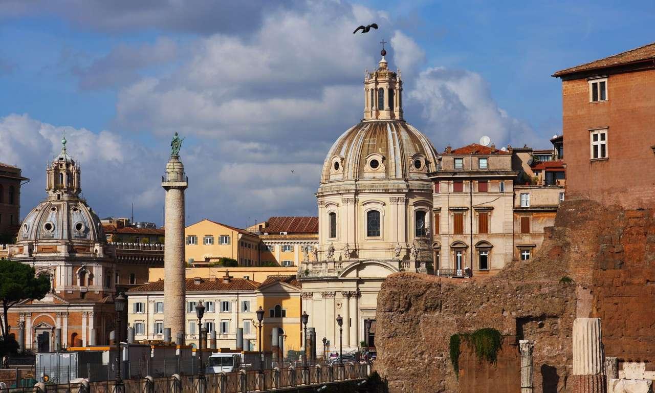 Panorama centrum Rzymu (Włochy) - Centrum Rzymu obfituje w zabytki związane z wieloma epokami historycznymi i licznymi kulturami. Najważniejsze są pozostałości architektury antycznego Rzymu (Koloseum, Forum Romanum, Circus Maximu (15×9)