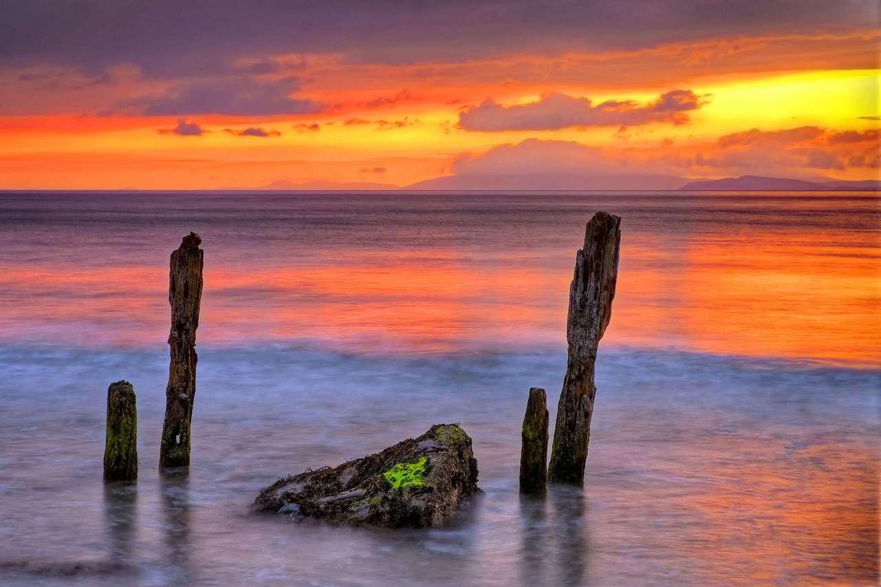 Zachód słońca na plaży Rossbeigh (Irlandia)