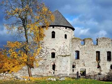 Ruiny zamku w Kiesi (Łotwa)