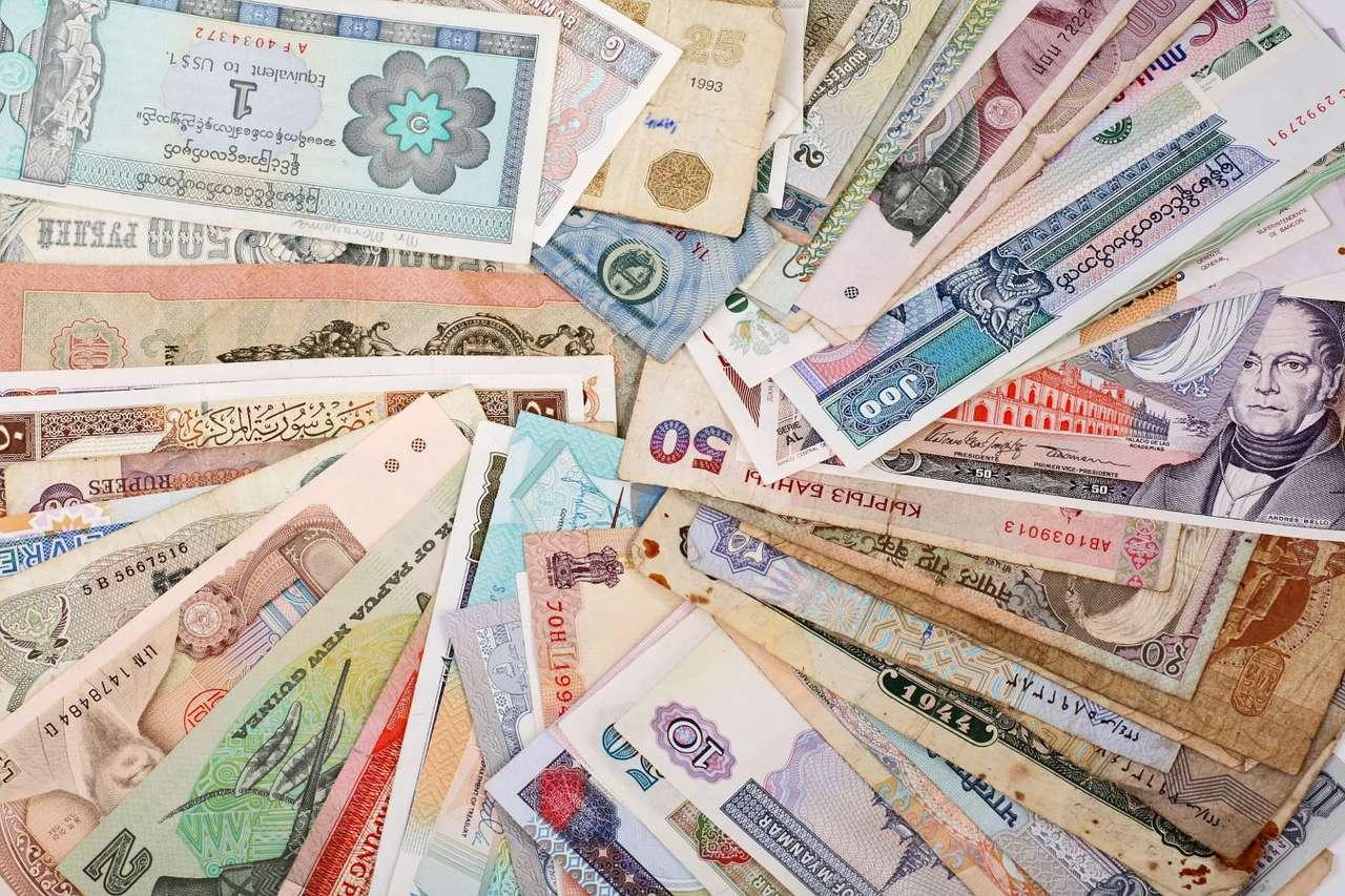 Waluty świata - Mianem waluty określa się nazwę pieniądza obowiązującego w danym państwie. W dzisiejszym świecie największe znaczenie ma 5 walut: dolar amerykański, frank szwajcarski, euro, funt brytyjski i (30×20)