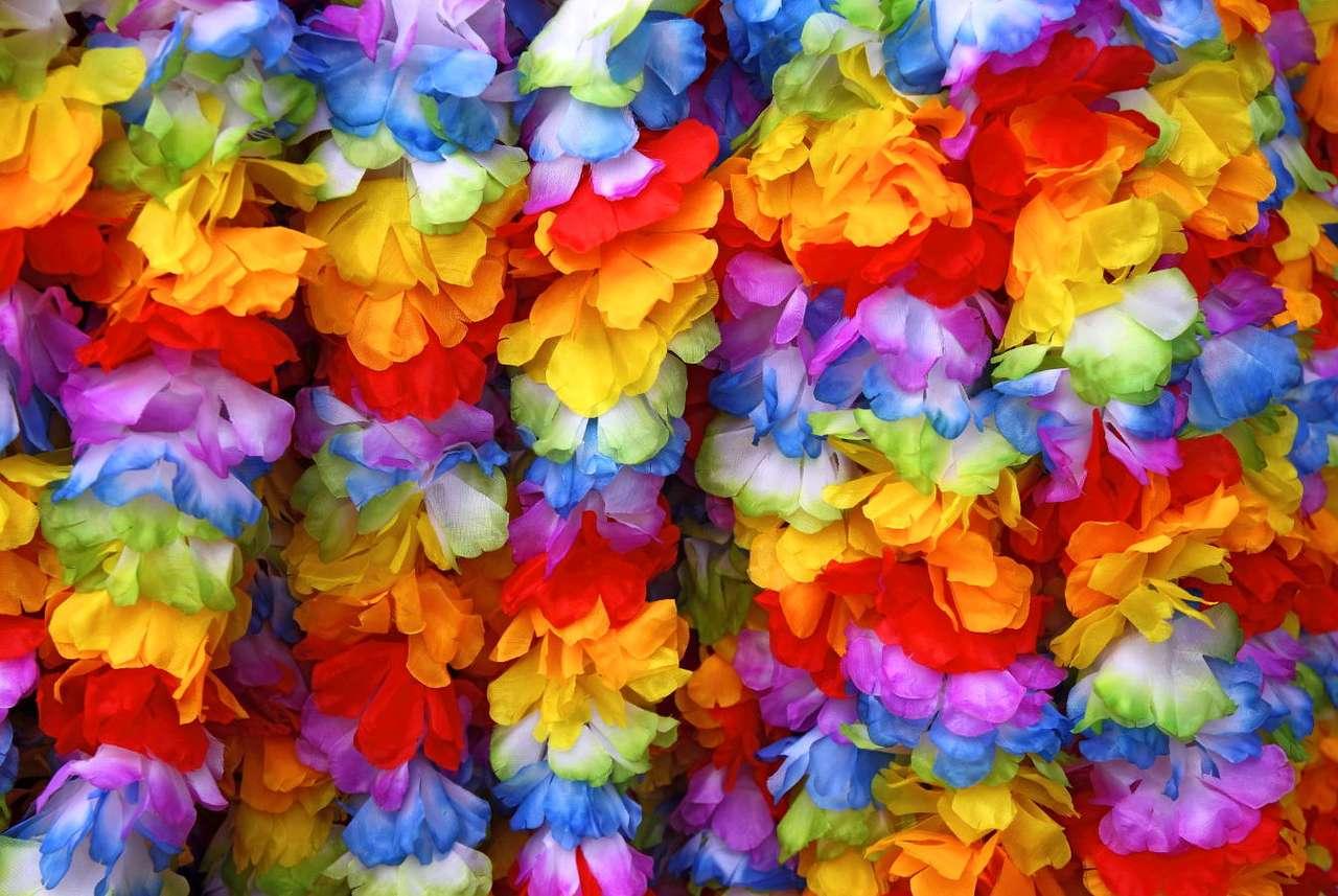 Hawajskie girlandy - Sławne hawajskie girlandy wykowane są z kwiatów hibiskusa hawajskiego, potocznie zwanego ketmią. Istnieje ponad 200 gatunków hibiskusów. Przede wszystkim wykorzystuje się je jako roślinę ozdo (16×10)