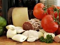 Produkty wykorzystywane w kuchni włoskiej puzzle