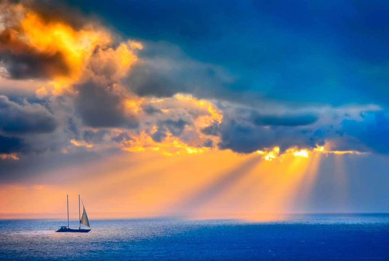 Samotna łódź - By wyruszyć na samotny rejs po oceanie, trzeba odznaczać się wyjątkową odwagą i hartem ducha. Większość z nas po prostu nie wytrzymałaby fizycznie w konfrontacji z żywiołem wody, a do tego (9×6)