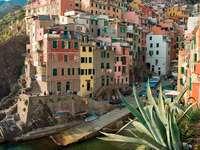 Budynki na skarpie w Riomaggiore (Włochy) puzzle ze zdjęcia