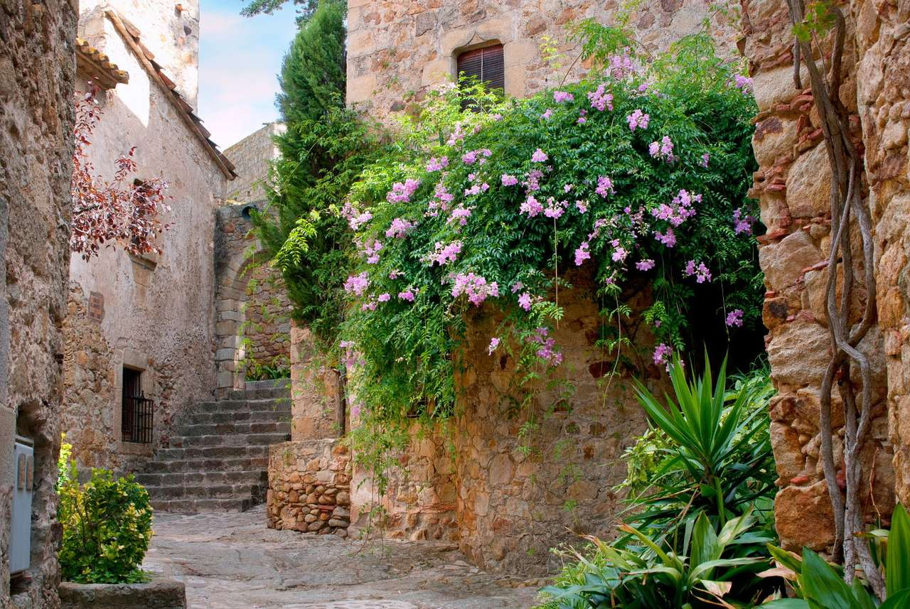 """Zakątek Peratallady (Hiszpania) - Peratallada to hiszpańskie miasteczko położone w Katalonii w prowincji Girona. W ciągu kwadransa można z niego dotrzeć do wybrzeża Morza Śródziemnego. Nazwa miejscowości oznacza """"rzeźbion (14×10)"""