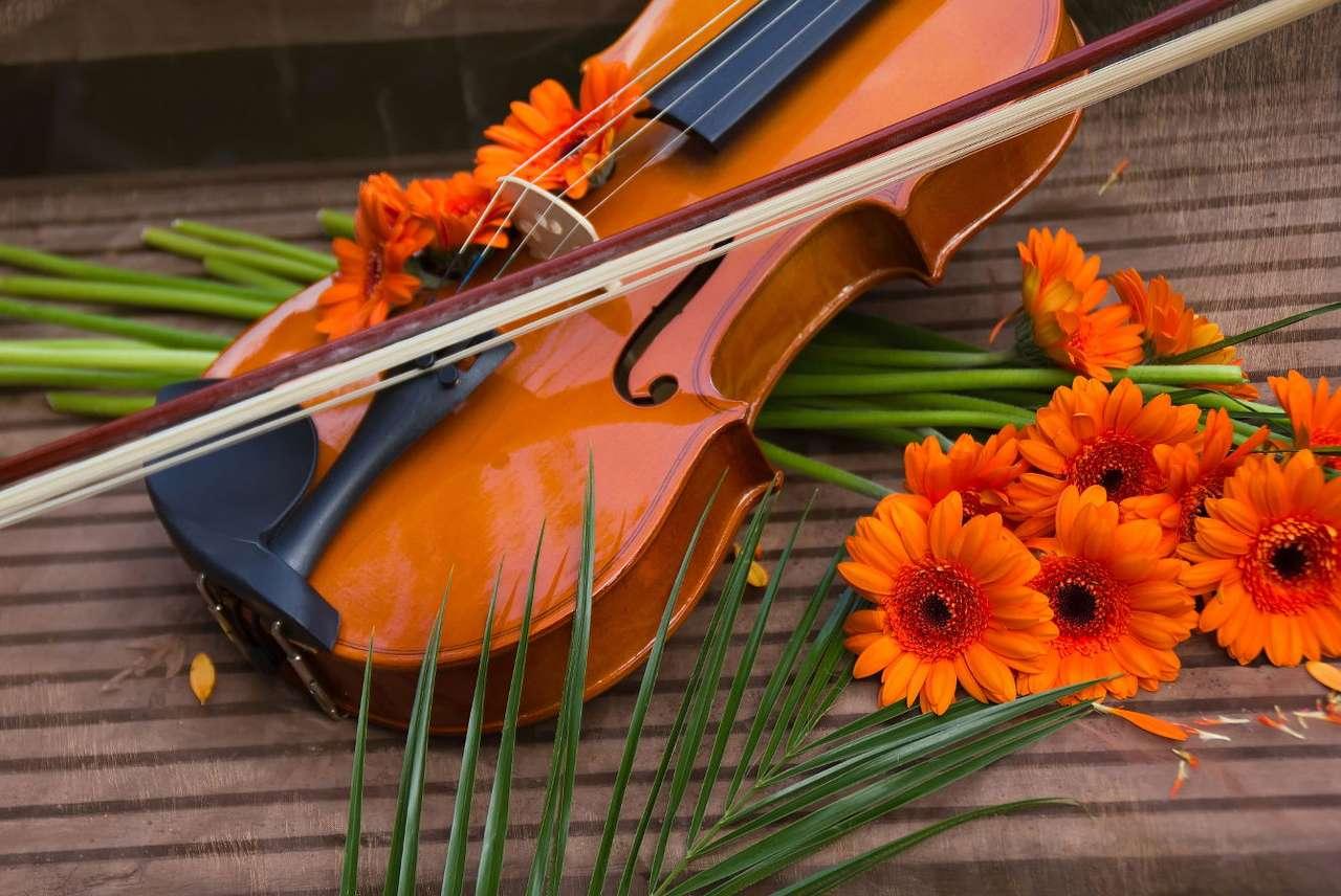 Ozdobione kwiatami skrzypce - Skrzypce i towarzyszący im kwiat można by uznać za metaforyczny obraz dwóch sfer – kultury i natury. Wydaje się, że są one przeciwieństwami – utarło się tak mówić, jednak gdy spojrzeć (10×7)