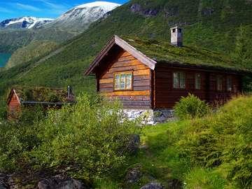 Chaty w górach (Norwegia)