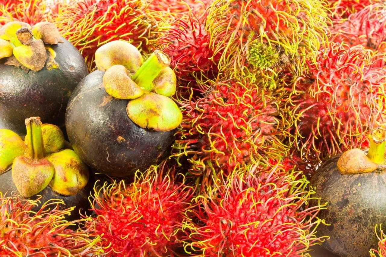 Rambutan i mangostan - Jagodzian rambutan i mangostan właściwy to owoce o wyjątkowym smaku i przedziwnym wyglądzie. Oba posiadają skorupki, które kryją soczysty, biały miąższ. Rambutan nieco przypomina liczi, ma r (9×6)