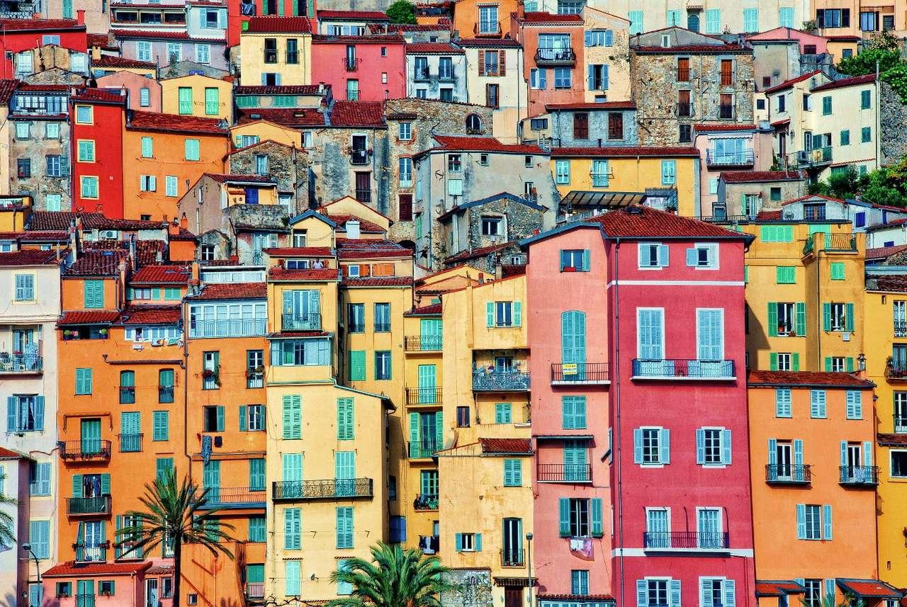 Kolorowe domy w Mentonie (Francja) puzzle ze zdjęcia