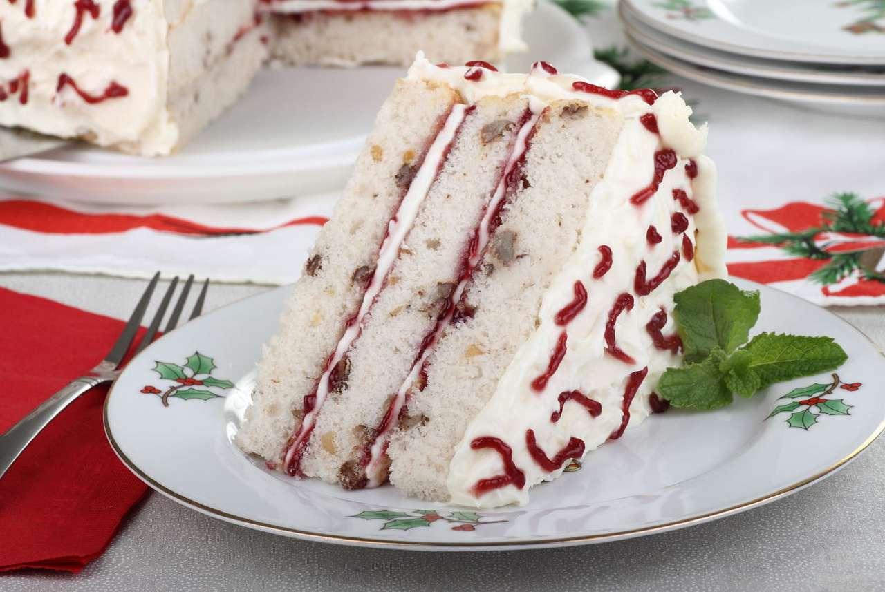 Kawałek tortu na talerzyku z bożonarodzeniowym motywem