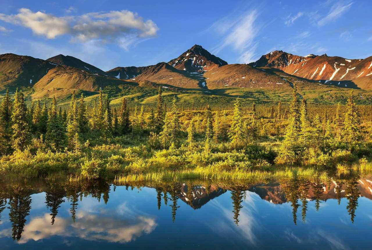 Jezioro na Alasce (USA) - Alaska to najbardziej wysunięty na północ i największy stan USA, ze względu na dziewiczą przyrodę i surowy klimat, który nie sprzyja ingerencji człowieka w środowisko naturalne, jest synonim (10×7)