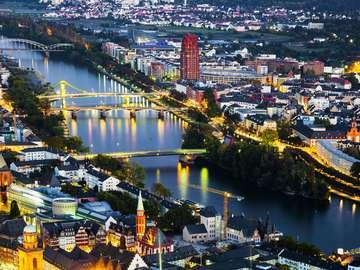 Frankfurt nad Menem z lotu ptaka (Niemcy)