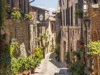 Uliczka w mieście Spello (Włochy)