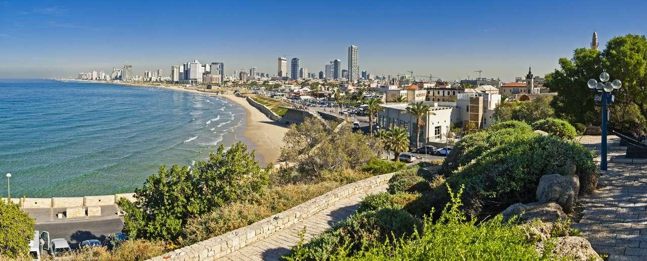 Widok na linię brzegową miasta Tel Awiw (Izrael) - Tel Awiw to zwyczajowa nazwa drugiego co do wielkości miasta Izraela. Pełna nazwa miasta brzmi Tel Awiw-Jafa i uwzględnia historię powstania słynnego kurortu. Tel Awiw jest bowiem dość młodym (10×4)
