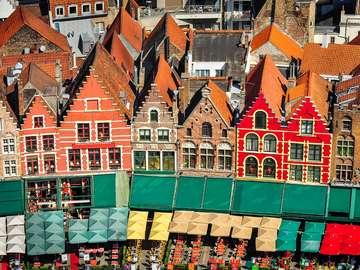 Kolorowe domy w Brugii (Belgia)