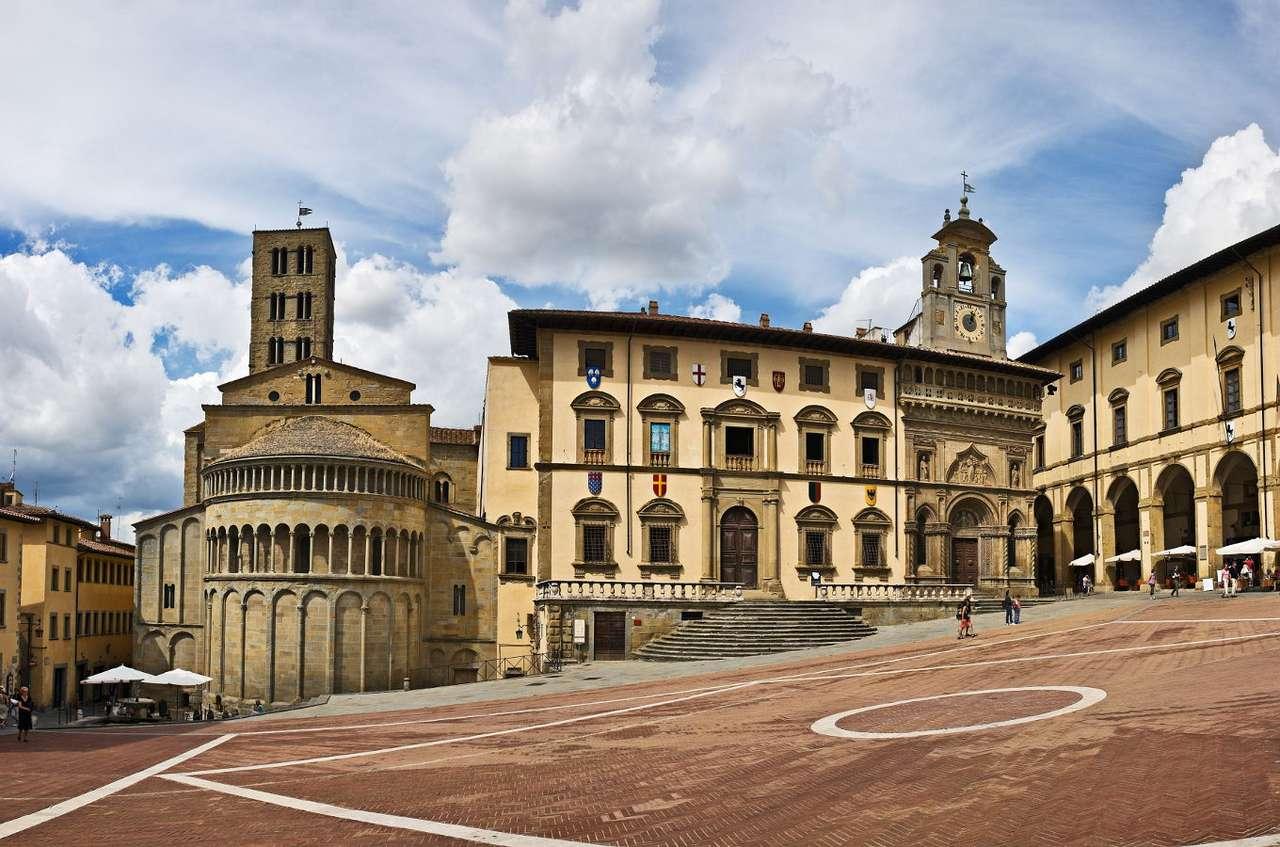 Rynek miasteczka Arezzo (Włochy) - Arezzo to piękne historyczne miasto położone w Toskanii, w środkowej części Włoch. Miasteczko istnieje już od IV w. p.n.e., a czasy jego świetności przypadają na wiek XIV, później Arezzo (8×5)