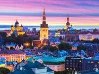 Wieczorna panorama Tallina (Estonia)