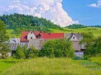 Wiejskie domy nieopodal granicy polsko-słowackiej