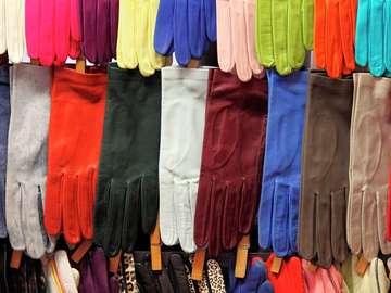 Kolorowe rękawiczki ze skóry