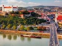 Panorama Bratysławy z zamkiem (Słowacja)