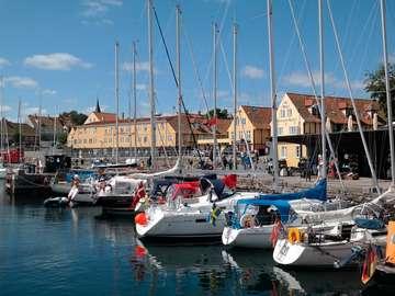 Jachty w porcie w Svaneke (Dania)