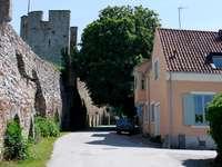 Uliczka przy murach obronnych w Visby (Szwecja)