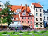 Kamieniczki na starówce w Rydze (Łotwa)