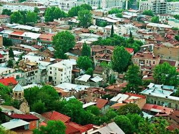 Zabudowania Tbilisi z lotu ptaka (Gruzja)