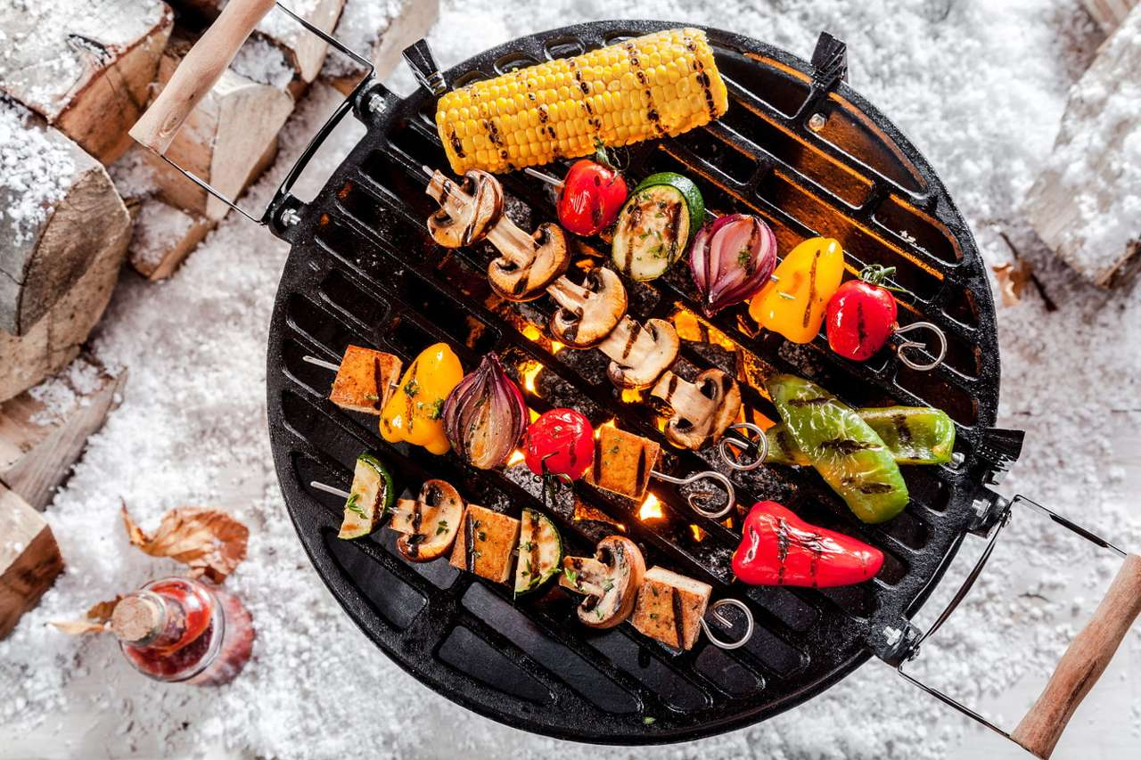 Wegetariańskie szaszłyki na grillu
