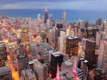 Widok na centrum Chicago i jezioro Michigan (USA)