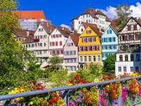 Kolorowe kamienice nad rzeką Neckar w Tybindze (Niemcy)